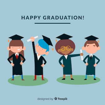 Graduation concept with happy students