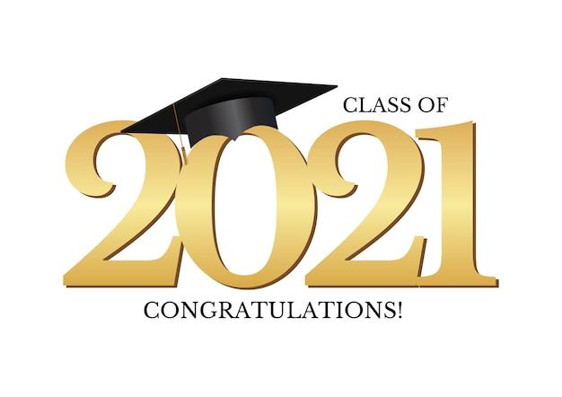 卒業帽をかぶった2021年の卒業式おめでとうクラス