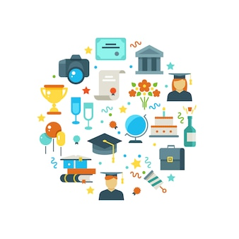 Graduation day and learning concept with graduate party icons
