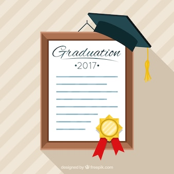 Graduation diploma background with mortarboard