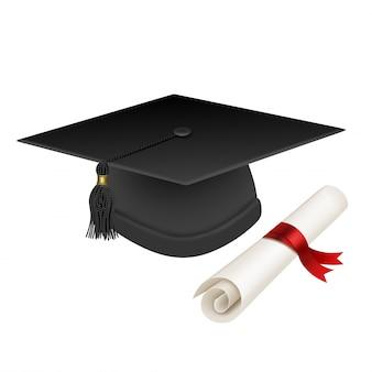 Graduation hat and diploma