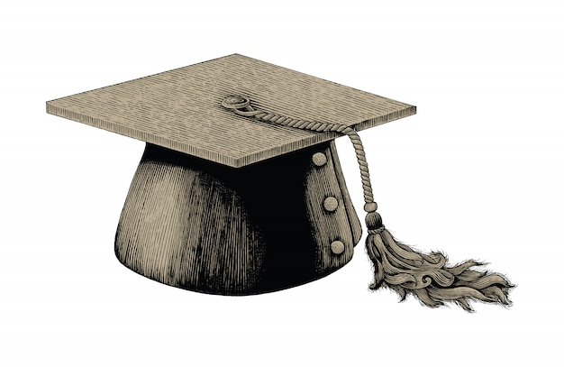 Graduation hat hand drawing vintage engraving illustration