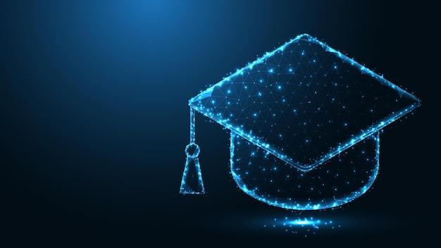 卒業帽子ライン接続抽象的な幾何学的背景