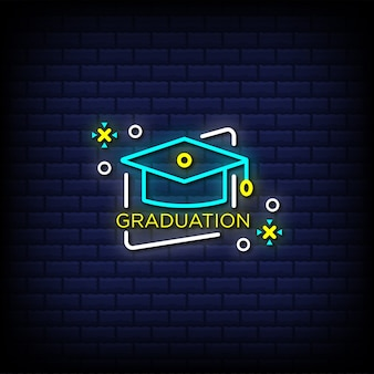 Graduation hat neon sign style text