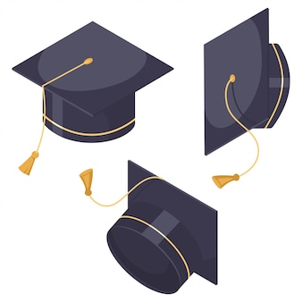Graduation hat set.   flat cartoon cap icons in different positions isolated on white background.
