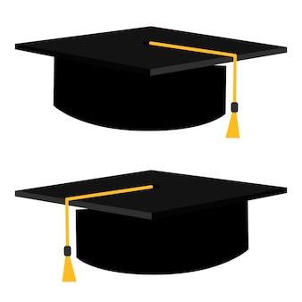평면 스타일에 졸업 모자 벡터 일러스트입니다. 졸업 모자 배경에 고립입니다.