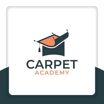 높은 교육을 받은 판매를 위한 카펫 로고 디자인 템플릿이 있는 졸업 모자