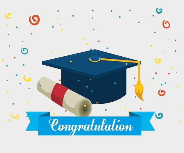 Выпускная шляпа с дипломом