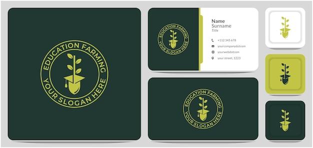 農業教育のシャベルと葉のロゴデザインベクトルシンボルと卒業帽子