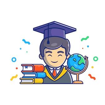 卒業イラスト。卒業キャラクターと本。分離された教育コンセプトホワイト