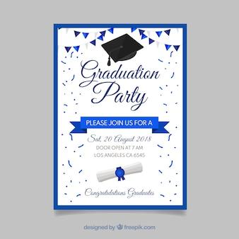 Graduation invitation template flat design