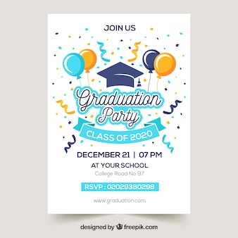 Graduation invitation template flat design