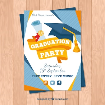 Graduation invitation template in flat style