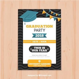 フラットスタイルの卒業招待状テンプレート