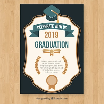 Graduation invitation template with flat design