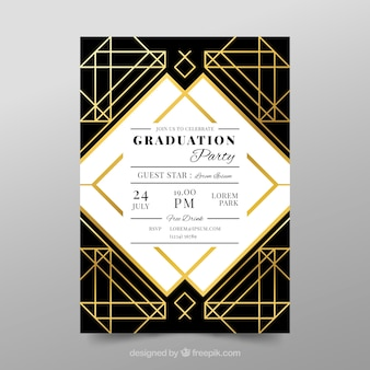 Graduation invitation template with golden style