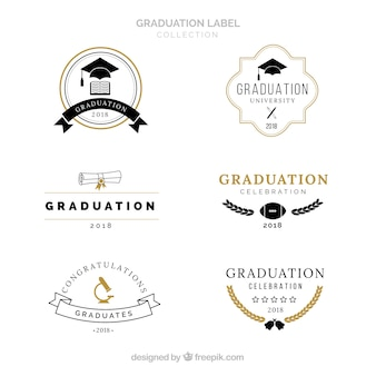 Graduation labels collection in flat style