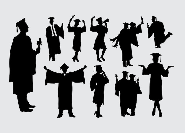 Graduation male and female action silhouette