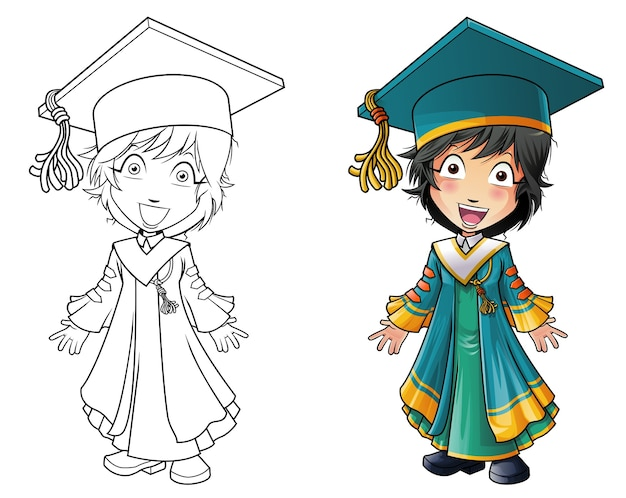 Graduation man cartoon coloring page for kids