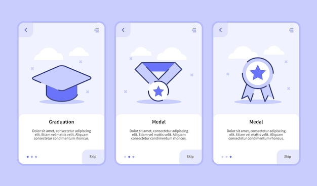 Graduation medal onboarding screen for mobile apps template banner page ui