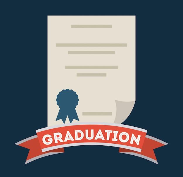 青い背景上の卒業