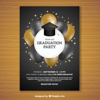 Graduation party brochure with black and gold balloons
