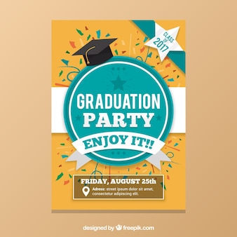 Graduation party brochure with colored confetti