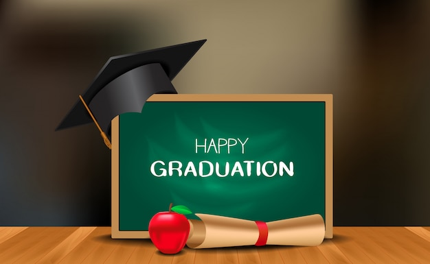 Graduation party ceremony with graduation cap with chalk board