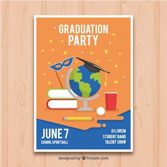 Graduation party flyer in flat design