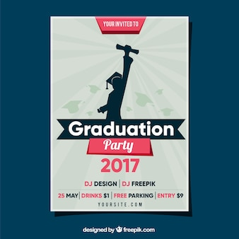 Graduation party flyer with student