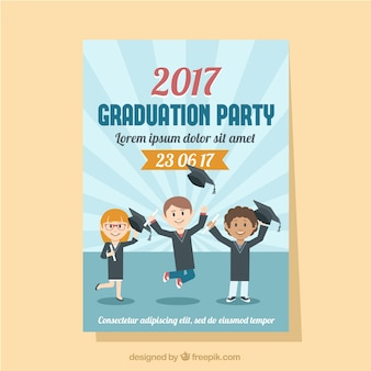 Graduation party flyer with three smiling students