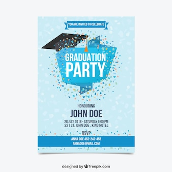Graduation party invitation with confetti