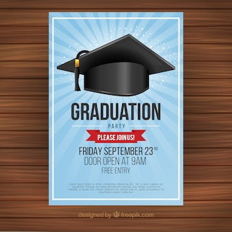 Graduation party invitation with mortarboard