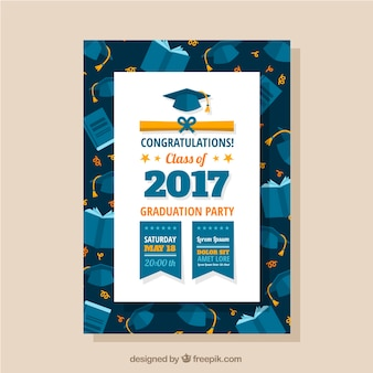 Graduation party leaflet with graduation caps and books