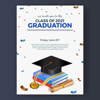 Graduation party poster invitation with 3d isometric book and graduation cap hat and medal with flying confetti