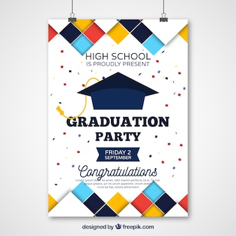Graduation party poster with colored squares