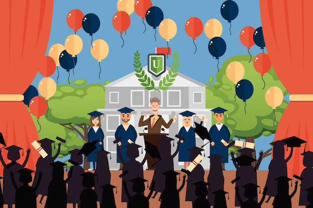 Graduation people  illustration, deans speech for university graduates. boys and girls character in gowns, hats celebrate