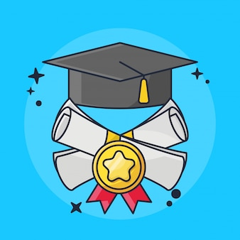 Graduation and report cards with hat illustration
