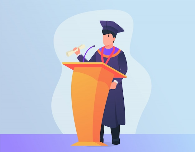 現代の表彰台でスピーチを与える男と卒業スピーチのコンセプト