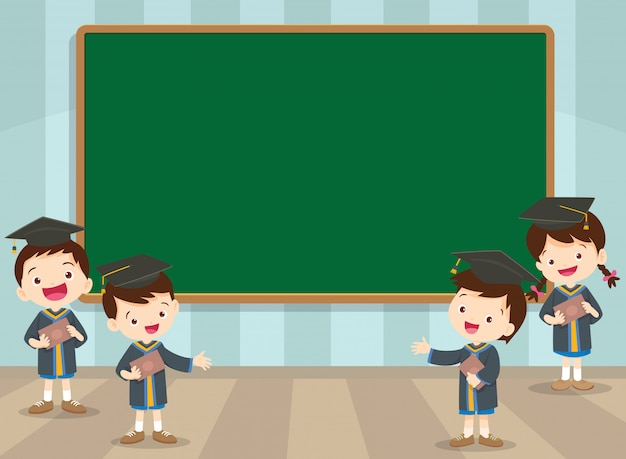 Graduation students and chalkboard
