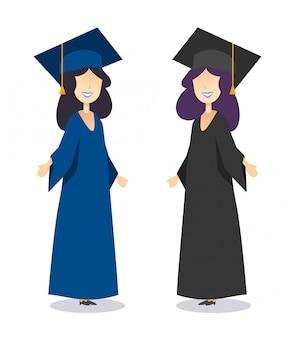 Выпускники женского пола в платьях и шапках обсуждают