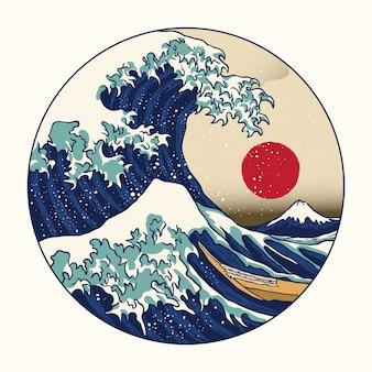 Graet wave off kanagawa on circle shape illustration