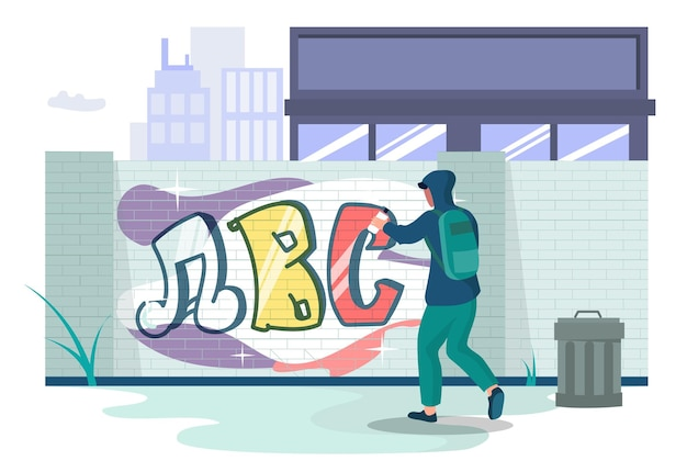 Graffiti art artist teenager wearing hoodie painting wall with paint spray, vector illustration. street art concept.