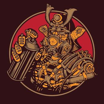 Graffiti bomber samurai warrior steampunk