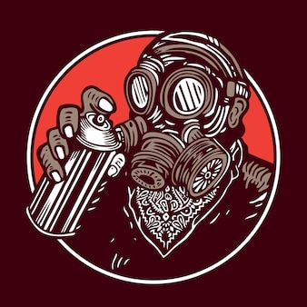 Graffiti bomber vintage gas mask masker