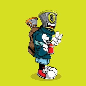 Graffiti character с рюкзаком и спрейной краской
