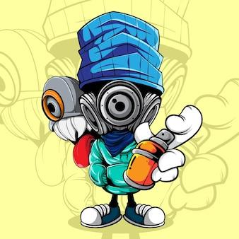 Характер граффити с распылительной краской и монстральной кепкой на спине