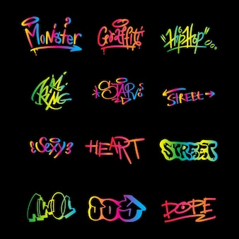 Graffiti elements in vector isolated