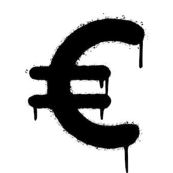 落書きユーロアイコンは、白い背景で隔離スプレー。通貨アイコン。ベクトルイラスト。