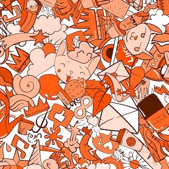 도시 라이프 스타일 라인 아이콘 낙서 패턴입니다. 미친 낙서 추상적인 벡터 배경입니다. 기괴한 거리 예술 요소가 있는 트렌디한 선형 스타일 콜라주.